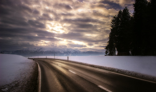 road travel trees winter sunset sky snow mountains alps nature skyline clouds canon landscape eos schweiz switzerland europe trail lonelyplanet snowscape nationalgeographic winterscape heimenschwand cantonberne