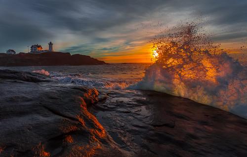 morning sea lighthouse seascape rock sunrise wave seashore