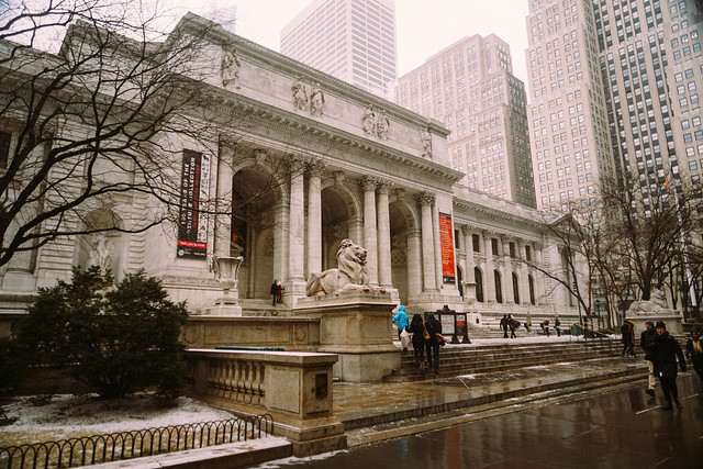 New York Public Library in the Snow