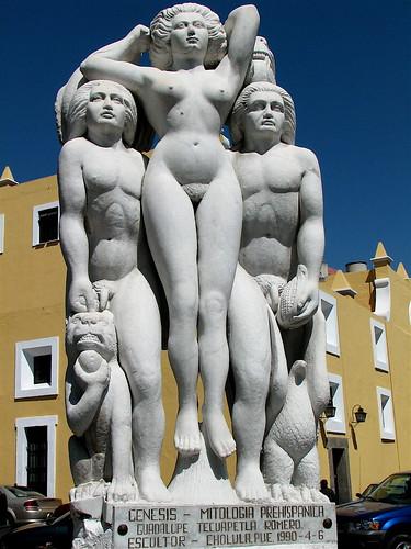 Sculpture near the theatre in Puebla.