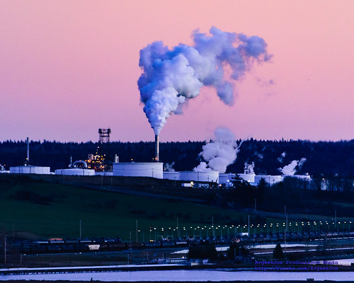 "An ""Oil Train"" And A Billowing Tesoro Refinery in a Skagit Sunset 