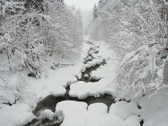 River during snowfall
