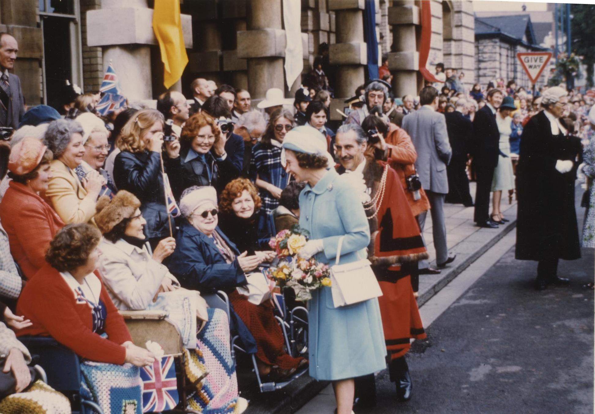 Walkabout by Her Majesty The Queen, Town Hall Square, Grimsby 12th July 1977 (archive ref CCHU-4-1-9-2)
