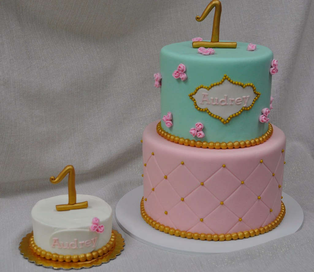 Excellent Pretty Pink Green And Gold Birthday Cake Jenny Wenny Flickr Funny Birthday Cards Online Alyptdamsfinfo