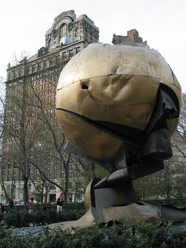 World Trade Center Globe with the scars of 9/11
