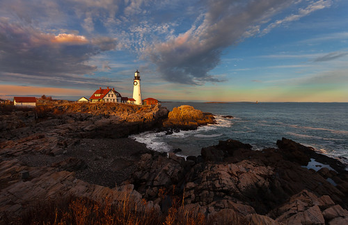 sea sky cloud lighthouse rock scenic shore