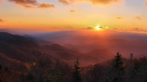 blue sunset mountains forest north ridge national parkway carolina knob pisgah waterrock