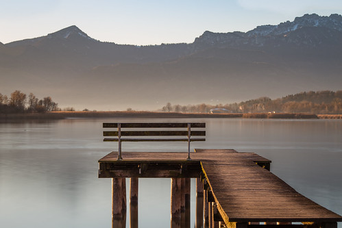 prien sunrise chiemgau 6d bavaria canon 135mm chiemsee rimsting bayern germany de mountains alps berge heimat home lake see ngc bench jetty dawn landscape nature
