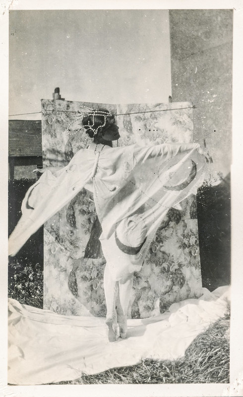 Woman in a butterfly costume