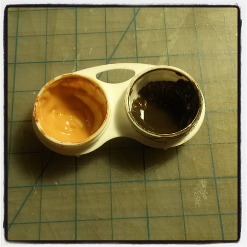 Artist Tip!: Do you have extra or old Contact Lens cases? Don't throw them away! Re-useRe-purposeUP-Cycle them!! Who needs to buy extra tubescontainers? Especially- suited for small paintings. Save paint, time and money. I also like them for touch-ups