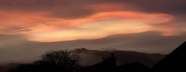 Nacreous clouds as the sunset (about 15 miles up & form below -78C). Rainbow effect due to scattering light from ice