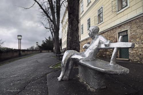 street city urban sculpture building art architecture bench artistic croatia literature depthoffield zagreb promenade writer dreamer strossmayer lowpov agmatos kozaric