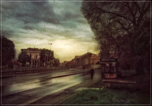 Rainy evening in Rome.