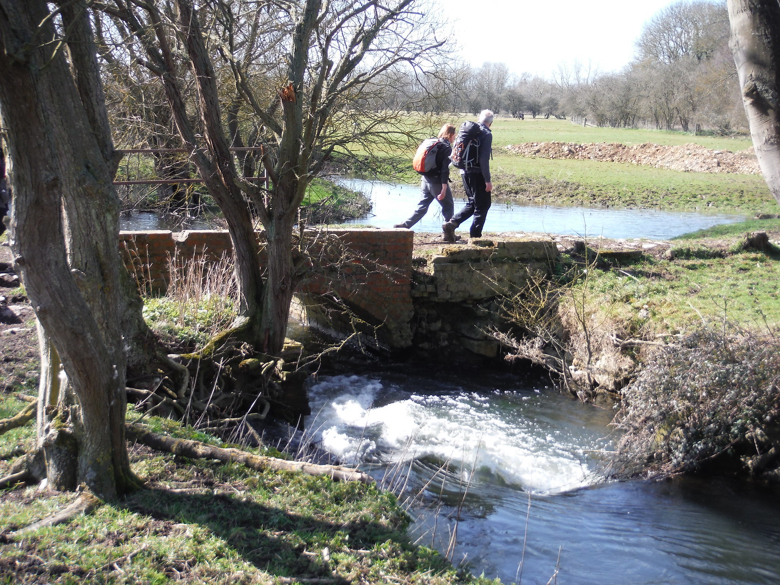 Crossing the River Thame (old mill site near Notley Abbey) SWC Walk 193 Haddenham to Aylesbury (via Gibraltar and Ford)