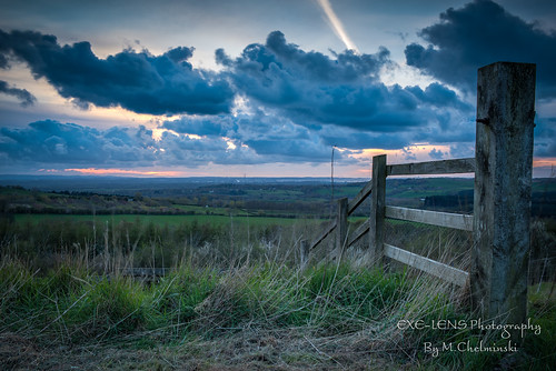 uk sunset fence landscape cheshire hills fields hdr photomatix delemere