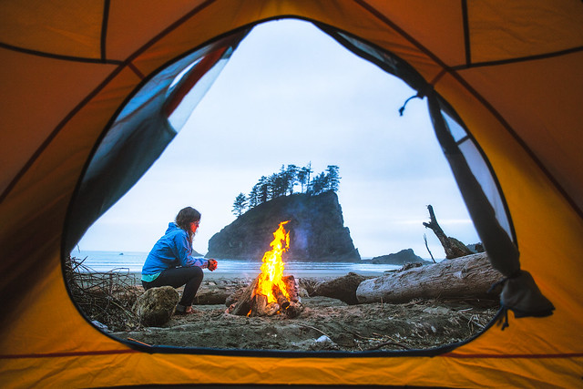 Second Beach in Olympic National Park with Gianna Tent View by Michael Matti
