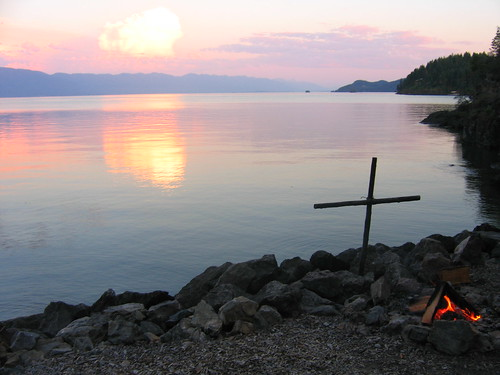 sunset camp mountain lake church water montana cross religion