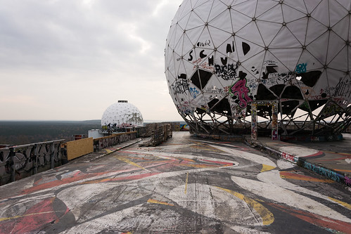 sunset color berlin tower art abandoned station germany painting graffiti view cloudy dome spy decayed francesco teufelsberg moccia