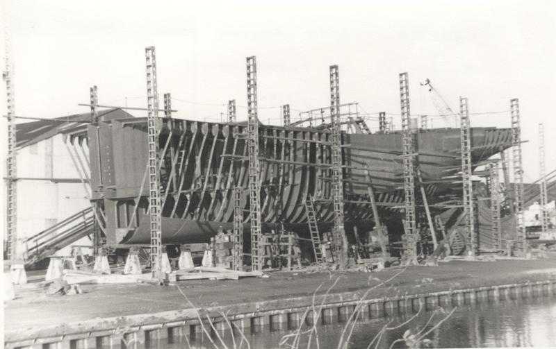 'Navena' stern trawler under construction on stocks at Grovehill shipyard 1960s (archive ref DDX1525-1-3)