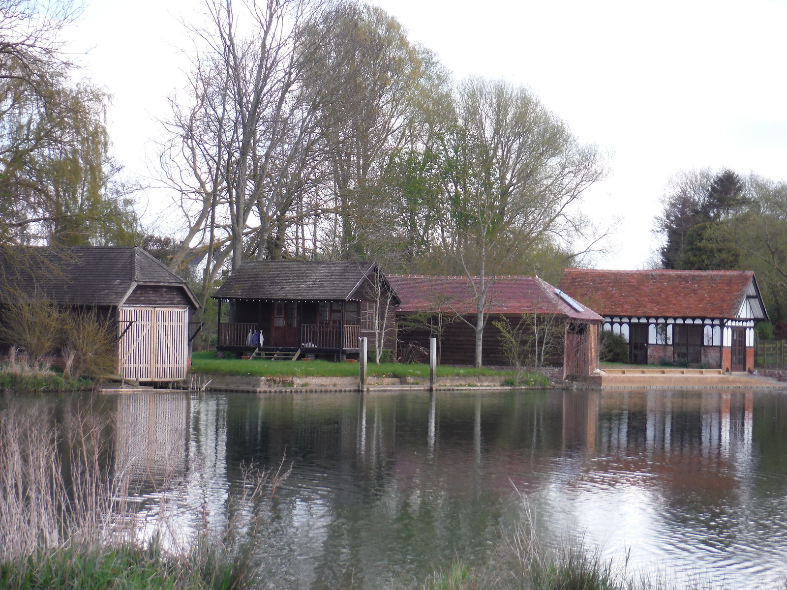 Boat Houses along Isis River in Burcot SWC Walk 44 - Didcot Circular