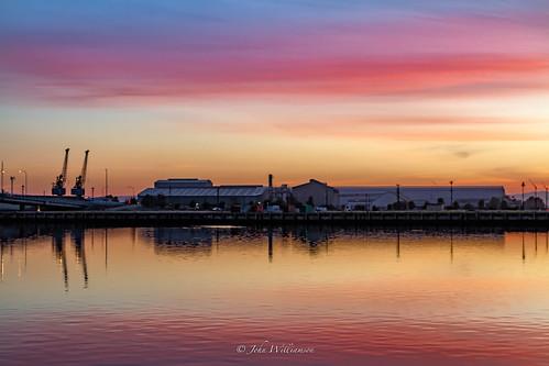 summer water sunrise landscape industrial outdoor australia southaustralia portadelaide portriver