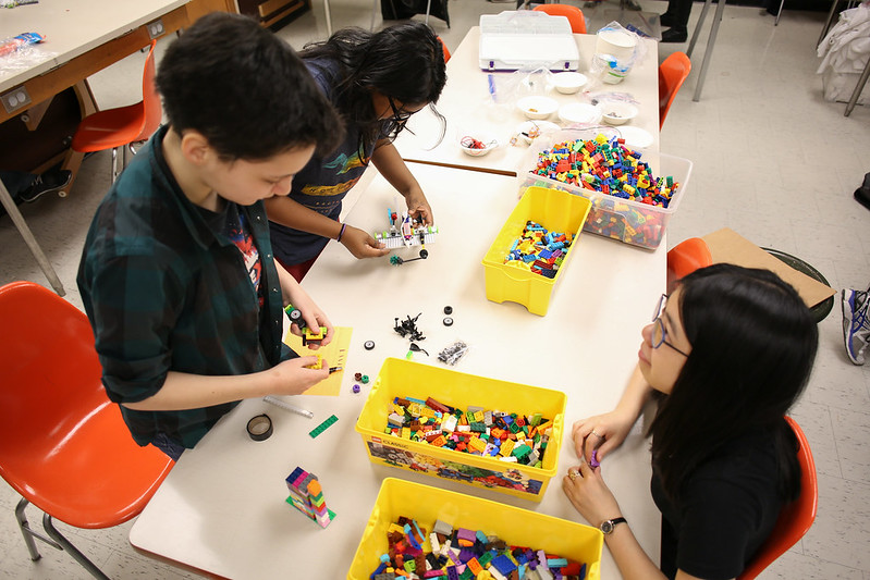"""Nearly 100 elementary and high school students spent their holiday week at U of T Engineering for the annual March Break Programs run by Engineering Outreach. Whether they were competing to build the tallest and most structurally sound tower, designing a """"lunar lander"""" or creating miniature robots, all students had a chance to nurture their inner maker.  (Photos by Roberta Baker and Tyler Irving.)"""