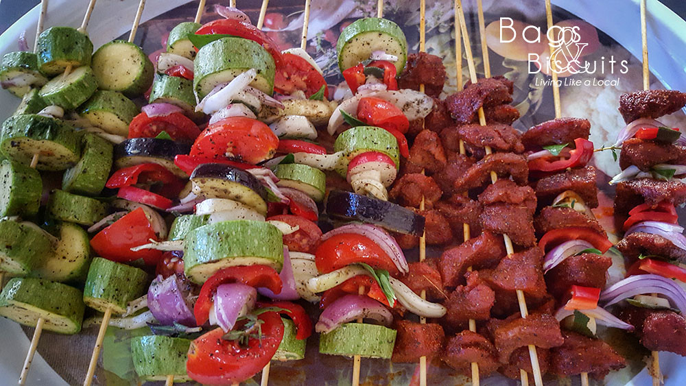 Kababs ready for the grill, using only local meat and veggies