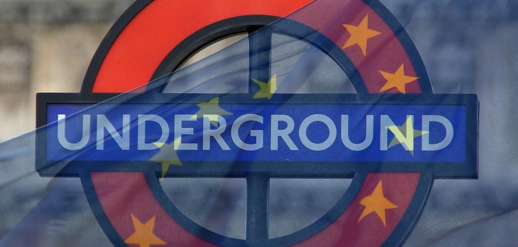 Underground/Tube sign - London, UK / EU (Europe) flag