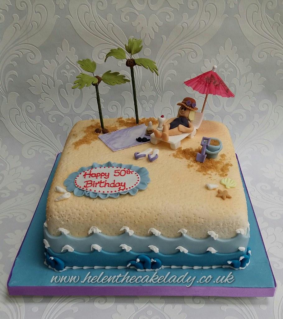 Terrific Holiday Beach Birthday Cake Helen Flickr Funny Birthday Cards Online Overcheapnameinfo
