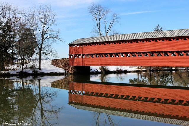 Reflections of Sachs Bridge on Marsh Creek