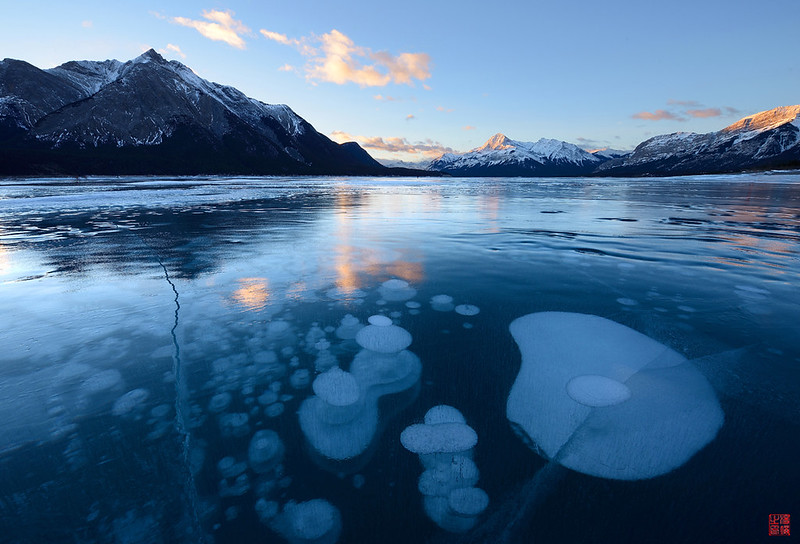 abraham lake ice bubbles, frozen methane bubbles, abraham lake, abraham lake,