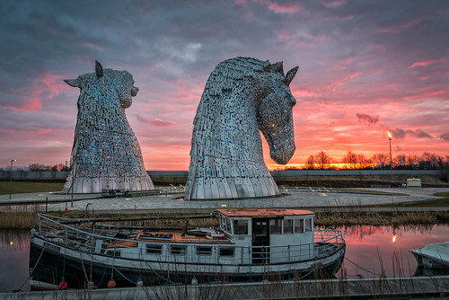 park red orange sun sunrise scotland unitedkingdom gb helix grangemouth falkirk kelpies