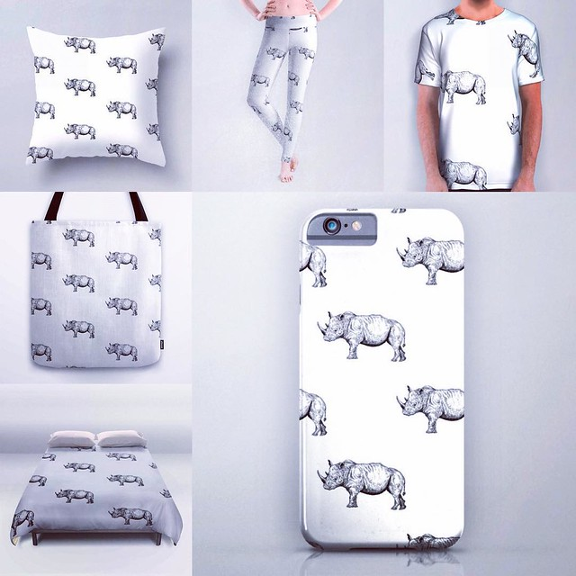 Rhino pattern products now on sale :) #rhino #rhinoceros #animal #animals #pattern #society6 #iphone #pillow #tshirt #tshirts #fashion #design #production #leggins #ink #art