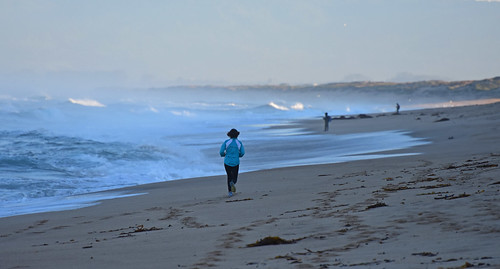jog sand surf coast coastline shore shoreline sea seaside ocean pacific monterey beach sandy tidal outdoor landscape seascape running d7200 nikon runner jogging marinabeach