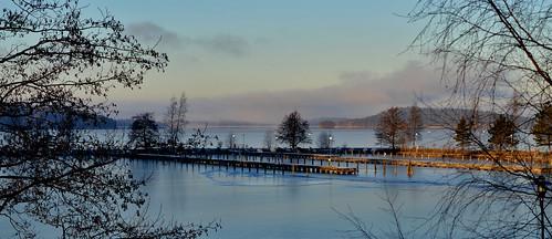lake landscape winter water ice blue järvi järvimaisema pier maisema finland suomi vesijärvi europe