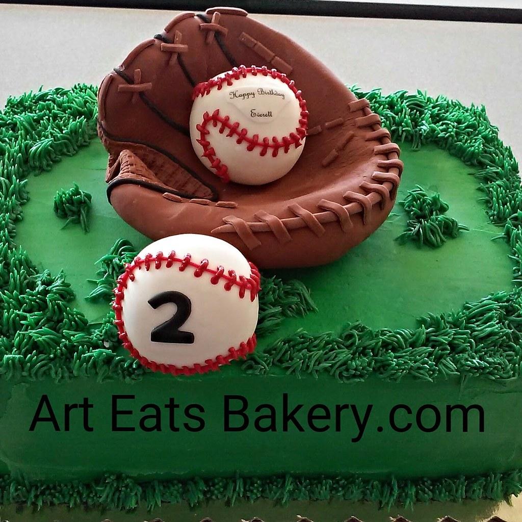 Admirable Kids Creative Custom Birthday Cake With Edible Baseball Gl Flickr Funny Birthday Cards Online Alyptdamsfinfo