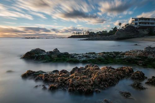 ocean california longexposure sunset sky cliff seascape beach clouds geotagged evening sand nikon rocks unitedstates cliffs palmtrees pacificocean palmtree lowtide lagunabeach nikond5300