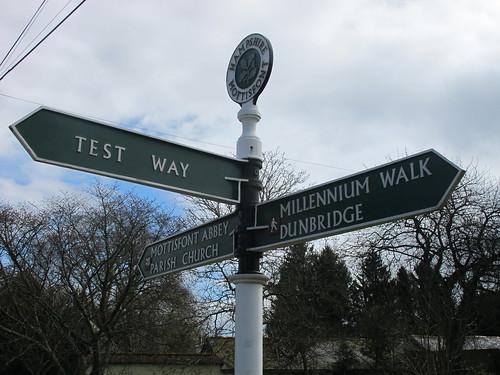 Signpost in Mottisfont Village SWC Walk 58 Mottisfont and Dunbridge to Romsey taken by Karen C.