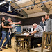 Richard Addison, Phil Cairns, David Beames, Richard Conlon, Robert Jack, Ron Donachie, Greg Powrie, Doug Russell and Mark McDonnell in rehearsals for The Crucible, Lyceum Theatre