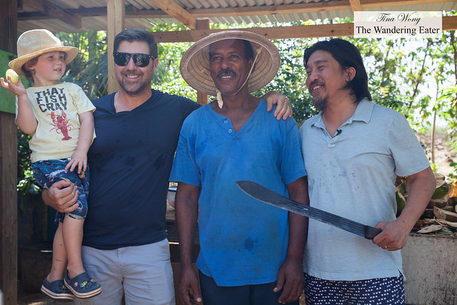 Chef Mike Lata, Farmer Clarence, Chef Edward Lee holding a machete (for kicks)