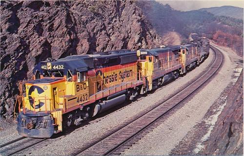 railroad train postcard engine souvenir locomotive chessiesystem