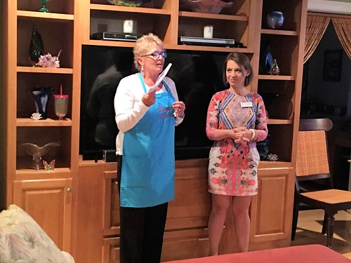 A Dinner Diva and Second Judicial Circuit Guardian ad Litem Program Volunteer Recruiter Sara Blumenthal speak to the crowd at The Dinner Divas Present: A Coastal Cocktail Buffet Fundraiser on Saturday, March 12, 2016 in Eastpoint, Florida. | by flguardian2