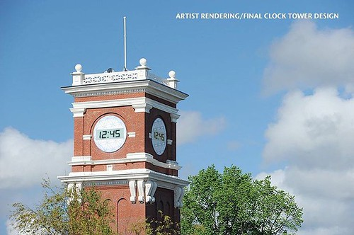 "Bryan Clock Tower is going digital! Workers are out early this morning replacing the clock faces of Bryan Clock Tower with new, modern ones. ""We saw this great weather as an opportunity to bring the clock tower into the 21st century and we're doing that w"