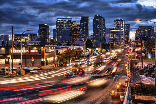 road street city longexposure blue urban motion blur car retail skyline buildings shopping landscape washington construction energy downtown commerce cityscape traffic suburbia overcast headquarters business busy lamppost rush hour commute bauer electricity pokemon vehicle intersection suburb eddie drugstore tmobile rei bellevue expedia bartell