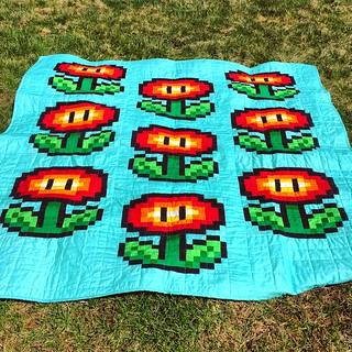 Fire Flower Slots quilt