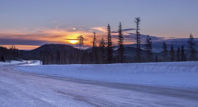 Century Drive HWY at Sunrise ( Mt Bachelor Ski Area, OR)