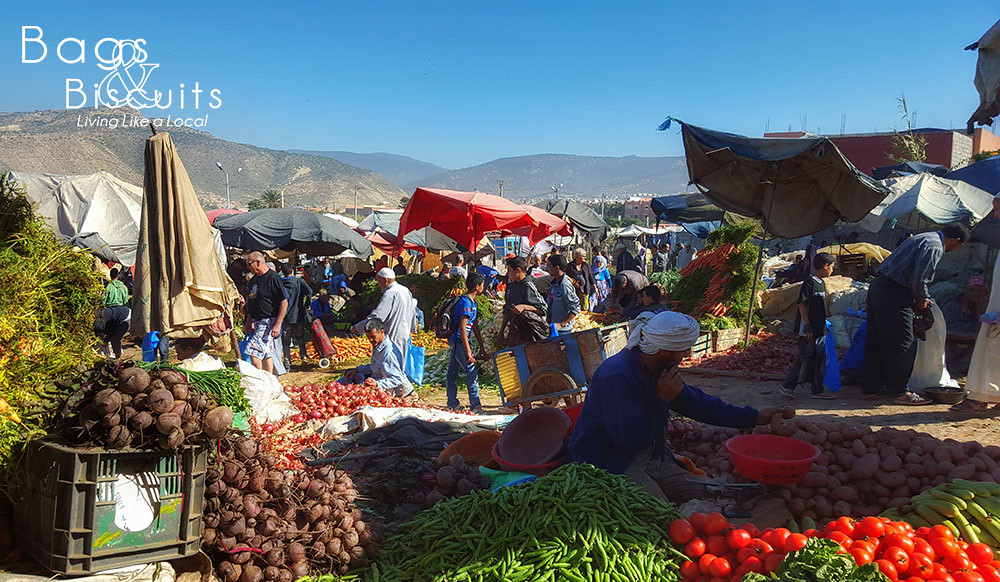 The weekly souk in Tamraght where we purchased our fresh fruit and veggies directly from the farmer.