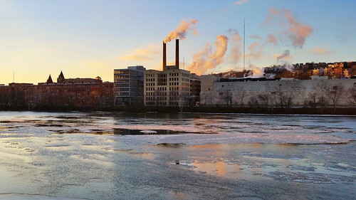 alleghenyriver dusk ice industrial landscape pittsburgh reflection river sky skyline smokestack stripdistrict urban urbanlandscape water