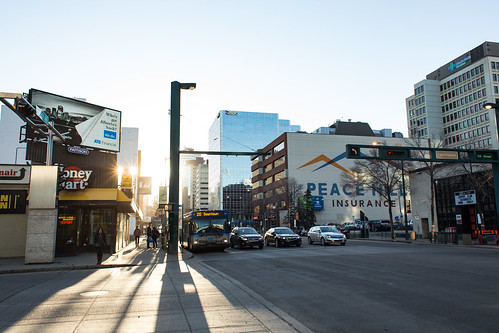road street city morning urban canada sunrise buildings downtown edmonton shadows alberta jasperavenue jasperave