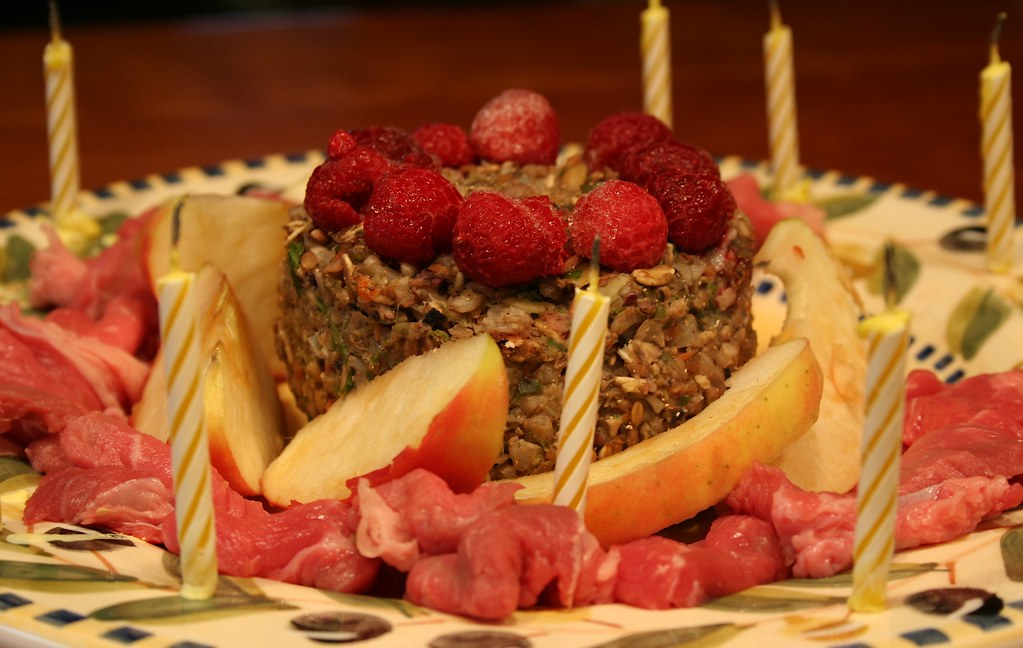 Surprising Birthday Cake With Steak Apples Raspberries And Salad Flickr Funny Birthday Cards Online Inifofree Goldxyz